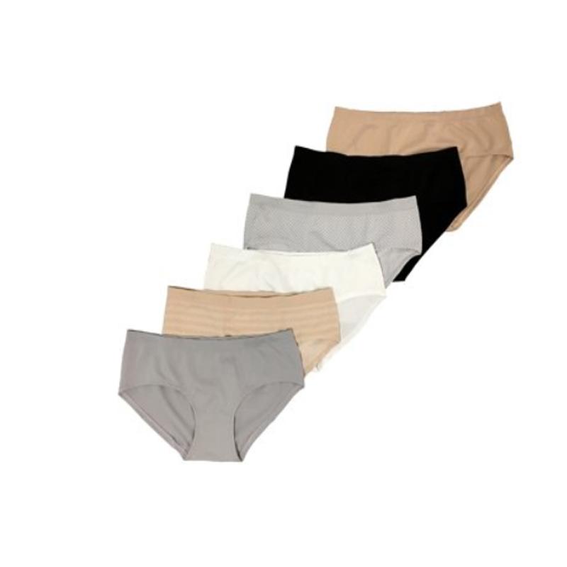 6 Pack Secret Treasures Womens Plus Cotton Fashion Hipster Panties